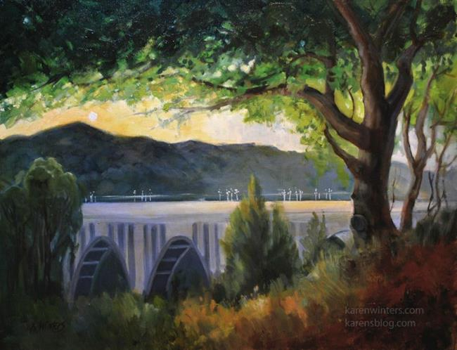 Art: Pasadena's Pride Colorado Street Bridge oil painting - SOLD by Artist Karen Winters