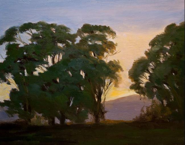 Art: Morning's First Light - Malibu Bluffs sunrise with eucalyptus trees - SOLD by Artist Karen Winters