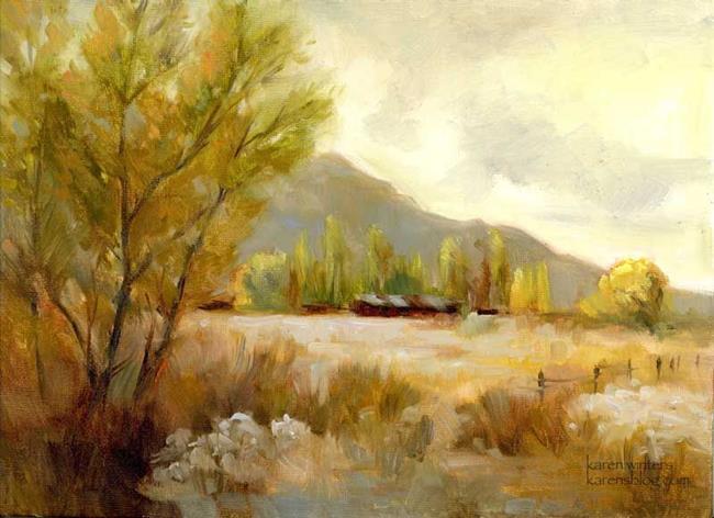 Art: Tin Roof - Bishop California Owens Valley High Sierra Oil Painting by Artist Karen Winters