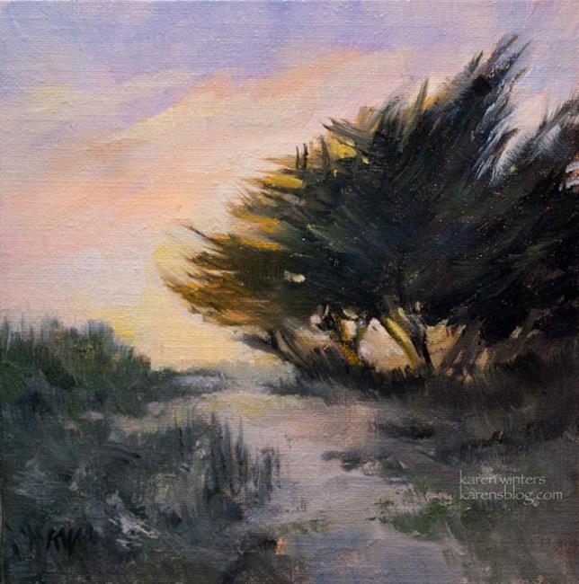Art: California Central Coastal Cypress Oil Painting by Karen Winters by Artist Karen Winters