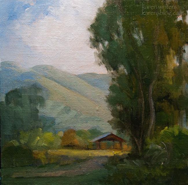 Art: Hay Barn Central California Sierra Foothills Oil Painting SOLD by Artist Karen Winters