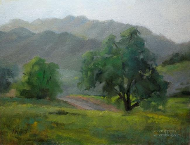 Art: Oaks by a Country Road - California Landscape Oil Painting by Artist Karen Winters