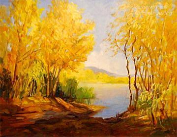 Art: Hansen Dam Willows - California landscape oil painting by Artist Karen Winters
