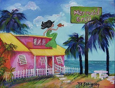 Art: Mermaid Grill - sold by Artist Ke Robinson