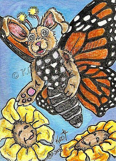 Art: Button - Eye Rabbit Butterfly by Artist Kim Loberg