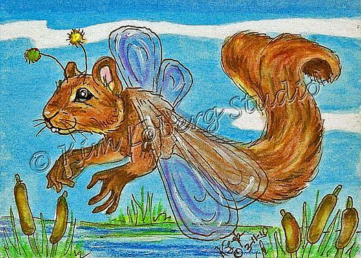 Art: Squirrel Dragon Fly by Artist Kim Loberg
