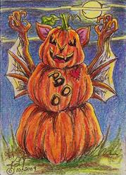 Art: Scary Pumpkin Boo Bat SOLD by Artist Kim Loberg