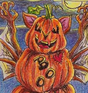 Detail Image for art Scary Pumpkin Boo Bat SOLD