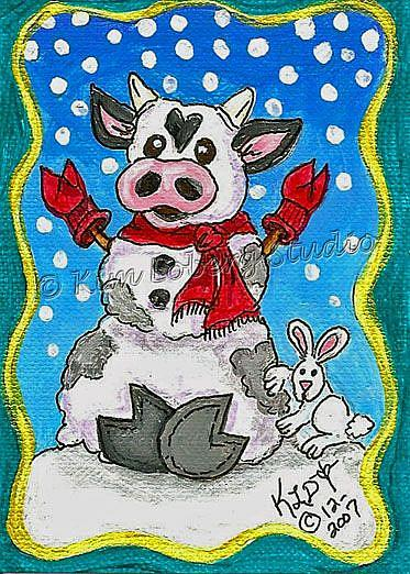 Art: Snow Cow - Rabbit by Artist Kim Loberg
