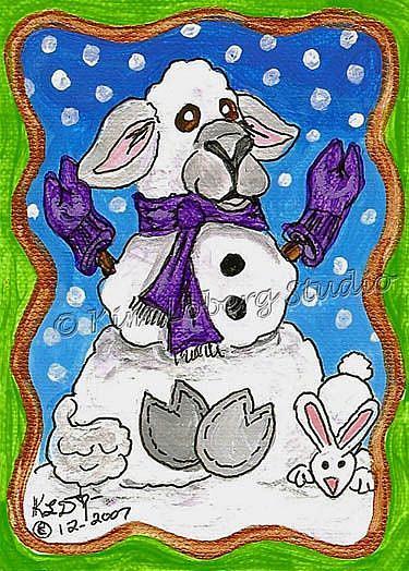 Art: Snow Lamb - Rabbit by Artist Kim Loberg