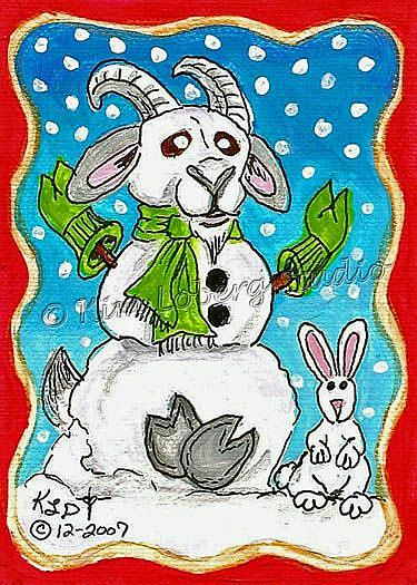 Art: Snow Goat - Rabbit by Artist Kim Loberg