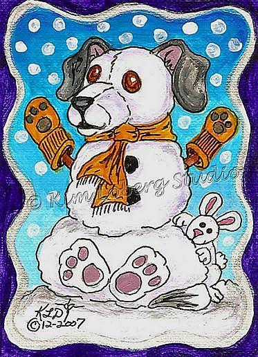 Art: Snow Dog - Rabbit by Artist Kim Loberg