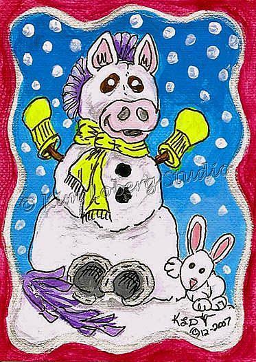 Art: Snow Horse - Rabbit by Artist Kim Loberg