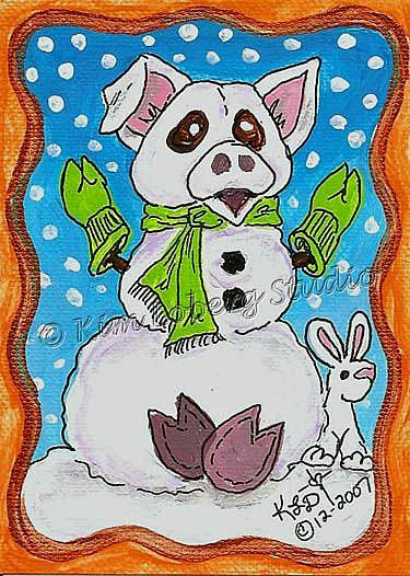 Art: Snow Pig - Rabbit SOLD by Artist Kim Loberg