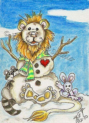 Art: Snow Lion & Friends Kim's Snow Critters #25 by Artist Kim Loberg