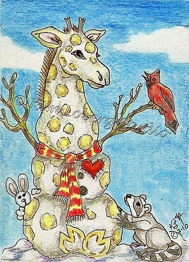 Art: Snow Giraffe & Friends Kim's Snow Critters #16 by Artist Kim Loberg