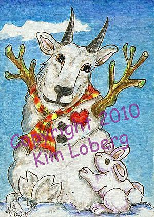 Art: Snow Mt Goat & Rabbit Snow Critters by Artist Kim Loberg
