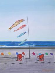 Art: Red Beach Chairs by Artist Carol Thompson