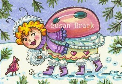 Art: WINTER STROLL IN THE SNOW by Artist Susan Brack