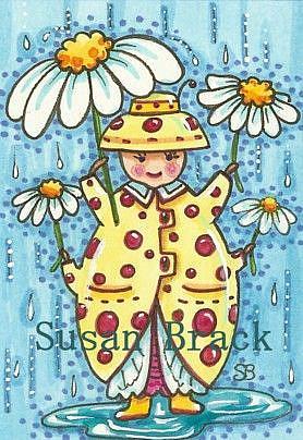 Art: RAIN DROPS N' DAISIES by Artist Susan Brack