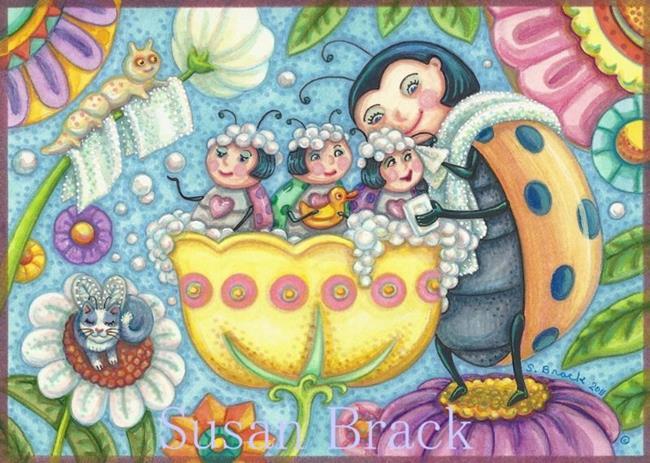 Art: LADYBUG BUBBLE BATH by Artist Susan Brack
