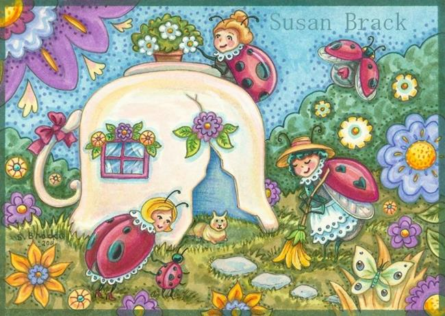 Art: TEACUP COTTAGE by Artist Susan Brack