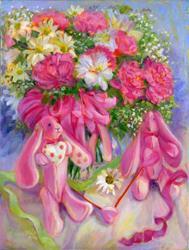 Art: Pink Bunnies at Spring by Artist Erika Nelson