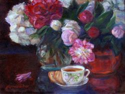 Art: tea_peonies.jpg by Artist Erika Nelson