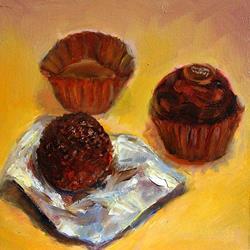 Art: Yummy Ferrero Rondnoiri (Fine Dark Chocolates) by Artist Erika Nelson