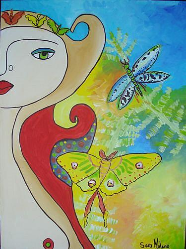 Art: Dragonfly and Butterfly of Deborah Jordan by Artist sara molano