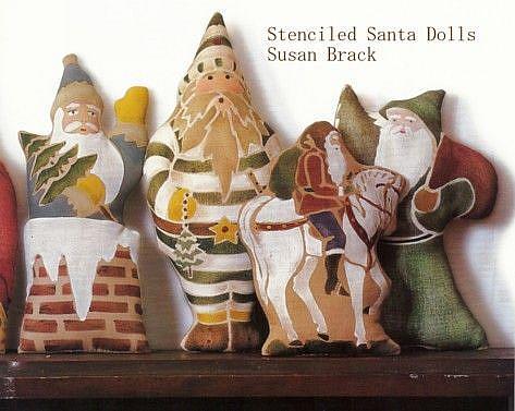 Art: LEISURE ARTS STENCILED Primitive Folk Art SANTAS Belsnickles by Artist Susan Brack
