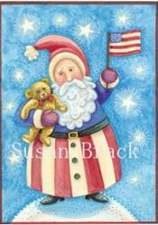 Art: DOVER PUB. RED WHITE AND BLUE Santa by Artist Susan Brack