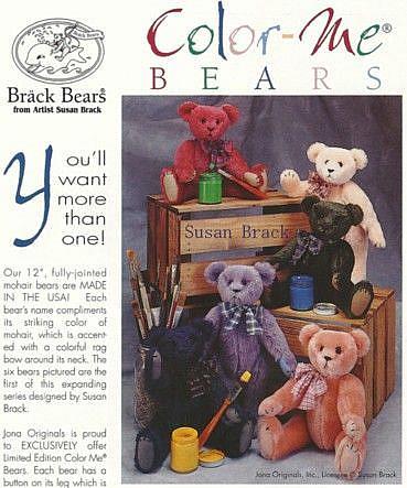 Art: Jona Originals BRACK BEARS COLOR ME BEAR Collection by Artist Susan Brack