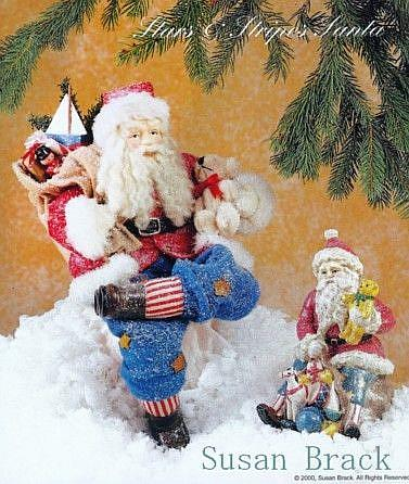 Art: GALLERIE II STARS N STRIPES SANTA DOLL & Figure by Artist Susan Brack