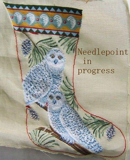 Art: NEEDLEPOINT CHRISTMAS SNOW OWL STOCKING In Progress by Artist Susan Brack