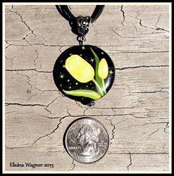 Art: Black Onyx Yellow Tulip Pendant by Artist Elaina Wagner