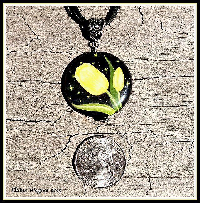 Art: Black Onyx Yellow Tulip Pendant by Artist Elaina Wagner