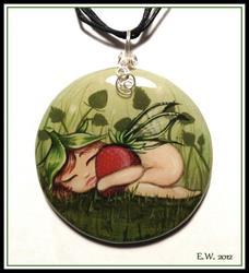 Art: Strawberry Pixie Pendant by Artist Elaina Wagner