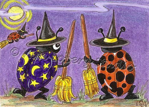 Art: Halloween Witch Lady Bugs Flight School SOLD by Artist Kim Loberg