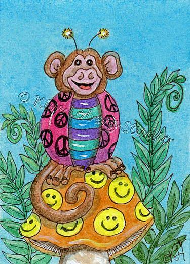 Art: Shy Monkey Lady Bug - SOLD by Artist Kim Loberg