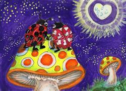 Art: Lady Bug Love Under the Starry Sky - SOLD by Artist Kim Loberg