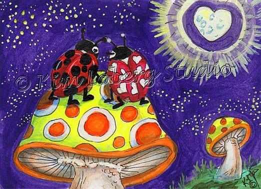 Art: Lady Bug Love Under the Starry Sky - SOLD by Artist Kim Loberg