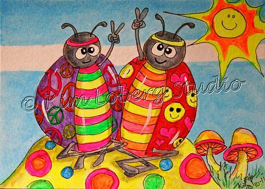 Art: Peace & Love Hippie Lady Bugs by Artist Kim Loberg