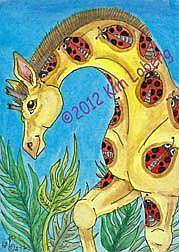 Art: Lady Bug Spotted Giraffe by Artist Kim Loberg