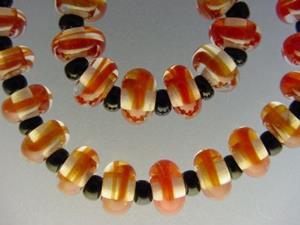 Detail Image for art BG Morrow LAMPWORK Handmade Glass Art 30 Beads D233 SRA