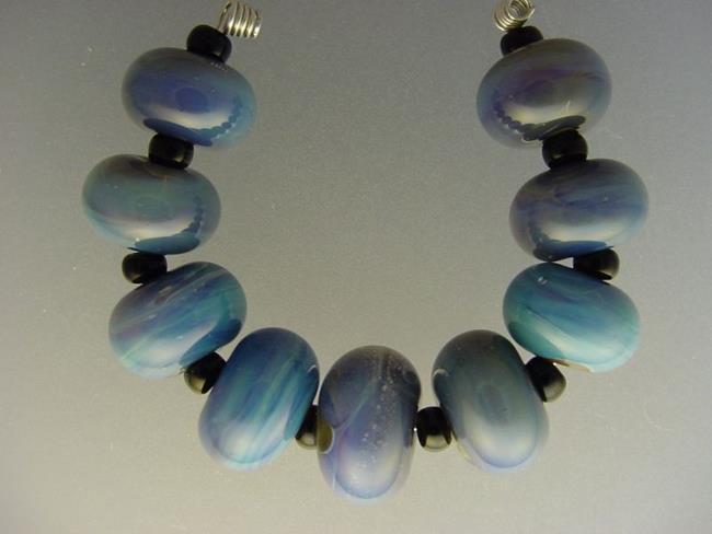 Art: BG Morrow LAMPWORK Handmade Glass Art 9 Beads D226 SRA  by Artist Bonnie G Morrow