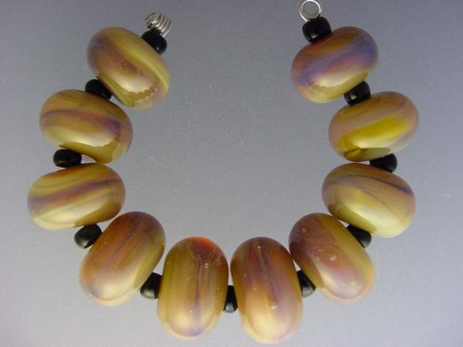 Art: BG Morrow LAMPWORK Handmade Glass Art 10 Beads D250 SRA   by Artist Bonnie G Morrow