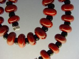 Detail Image for art BG Morrow LAMPWORK Handmade Glass Art 30 Beads D218 SRA