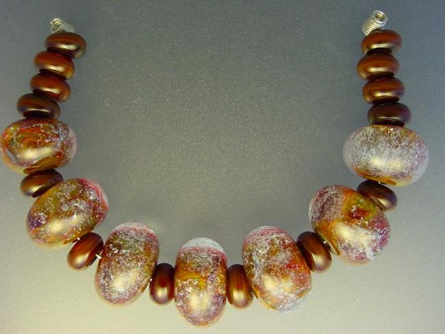 Art: BG Morrow LAMPWORK Handmade Glass Art 21 Beads D65 SRA   by Artist Bonnie G Morrow
