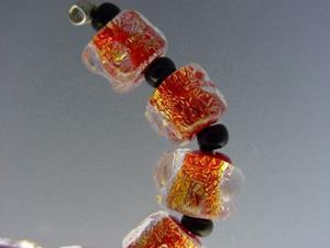 Detail Image for art BG Morrow LAMPWORK Handmade Glass Art 10 Beads D258 SRA